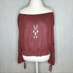 Free people maroon off the shoulder cut out top